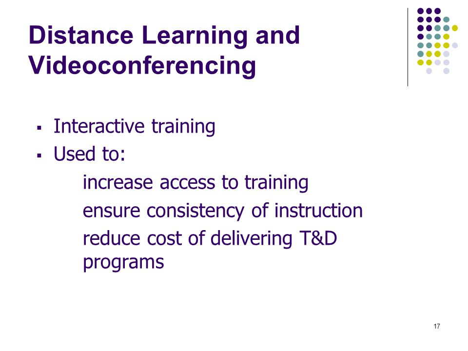 Distance Learning and Videoconferencing