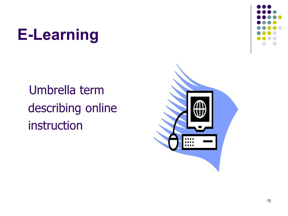 E-Learning Umbrella term describing online instruction
