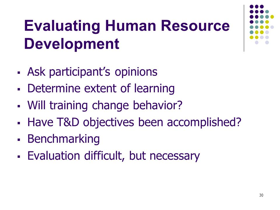Evaluating Human Resource Development