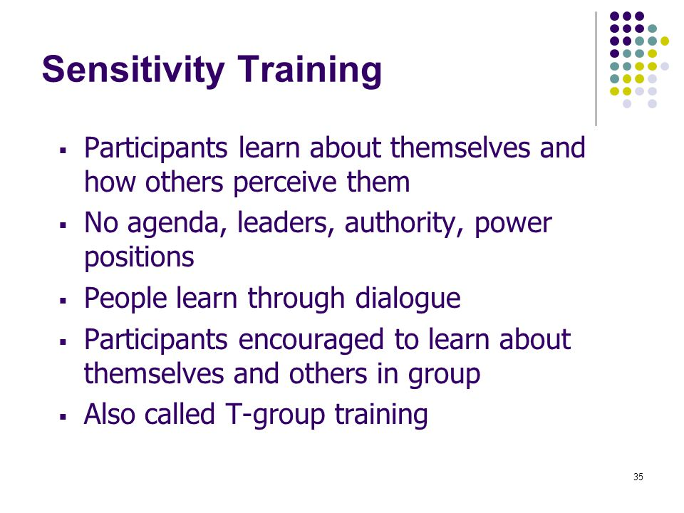 Sensitivity Training Participants learn about themselves and how others perceive them. No agenda, leaders, authority, power positions.