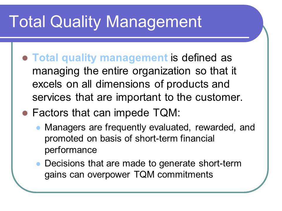 total quality in service companies Purpose – the purpose of this paper is to investigate the relationship between total quality management (tqm) practices and quality performance in indian service companies design/methodology/approach – the empirical data was collected using a self-administered instrument that was distributed to.