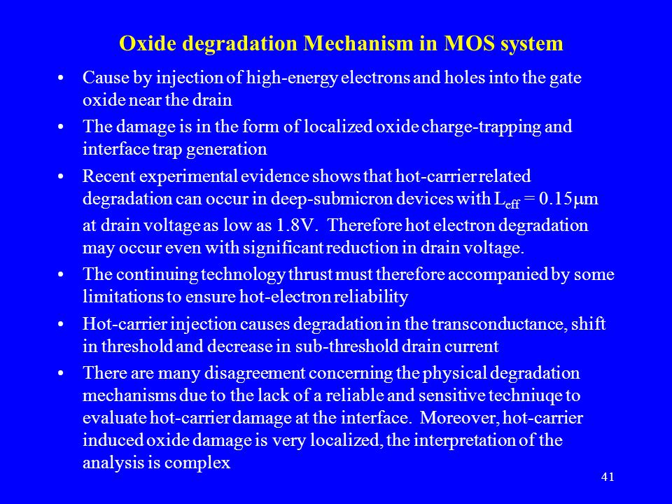 Oxide degradation Mechanism in MOS system