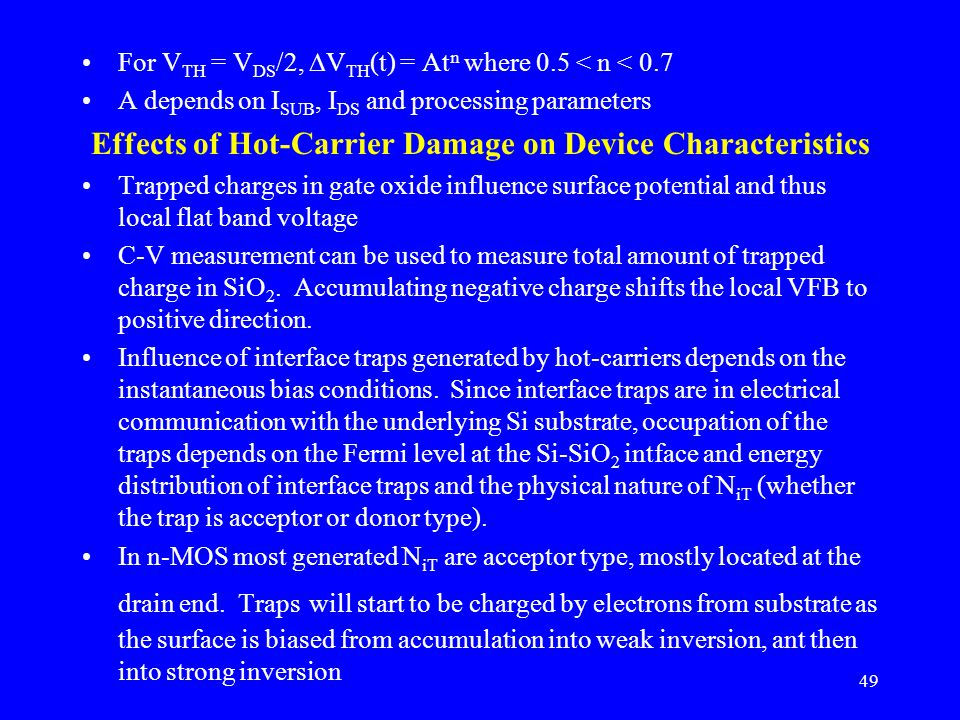 Effects of Hot-Carrier Damage on Device Characteristics