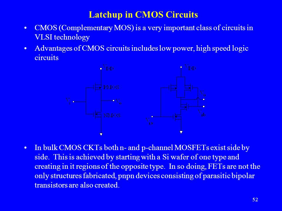 Latchup in CMOS Circuits