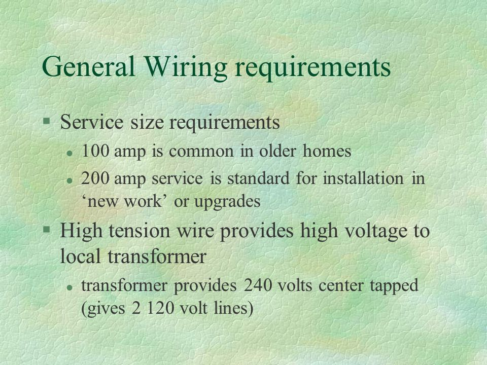 General Wiring requirements