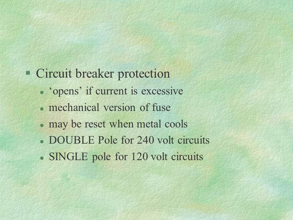 Circuit breaker protection