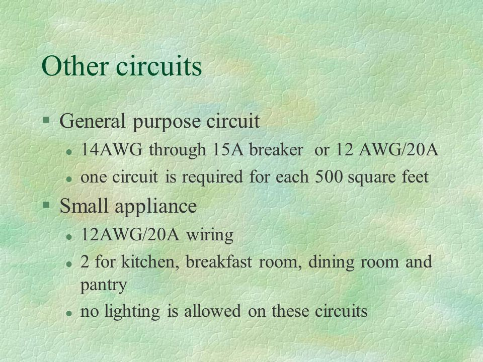 Other circuits General purpose circuit Small appliance
