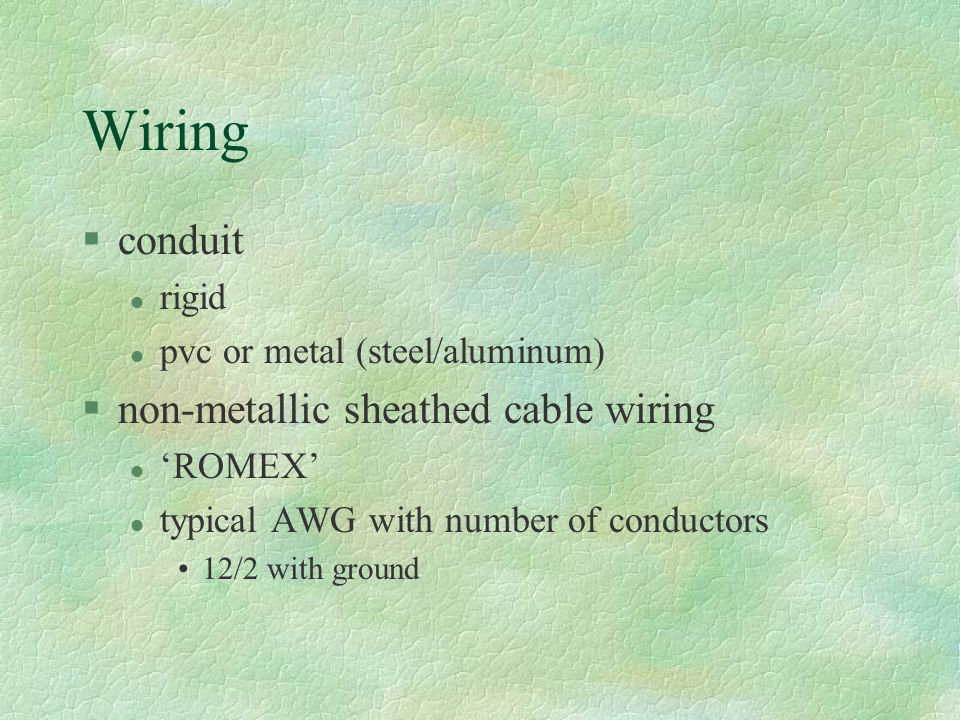 Wiring conduit non-metallic sheathed cable wiring rigid