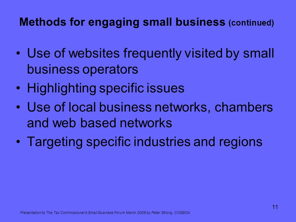 Methods for engaging small business (continued)