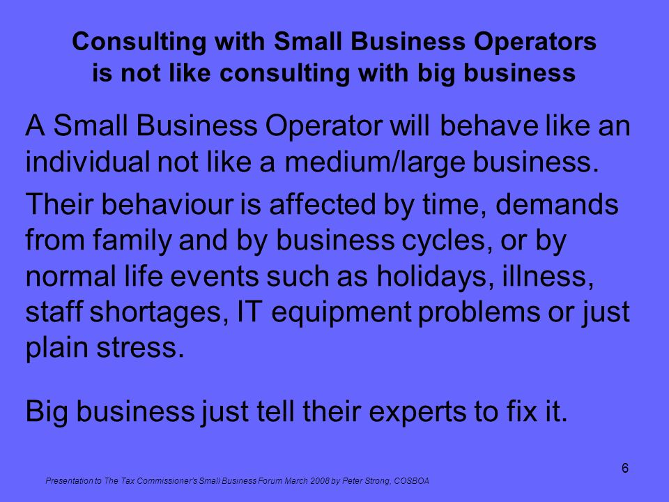 Big business just tell their experts to fix it.