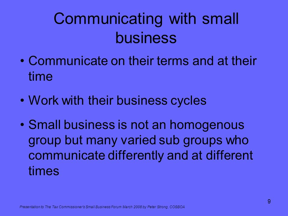 Communicating with small business