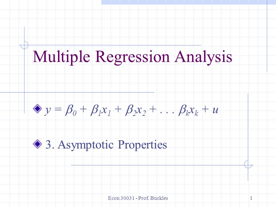 analysis of multiple regression Applying analysis of variance to test hypotheses about regression, you will evaluate multiple regression lines as a prediction tool multiple regression uses more than one predictor (x) to predict (y) and when you have two predictors you are able to map out a regression plane and a 3d scatterplot.