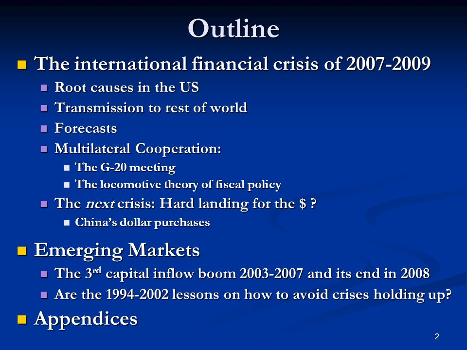 global financial crisis of 2008 2009 In 2008, the world experienced a tremendous financial crisis which is rooted from   greed within the finance sector led to the global financial crisis of 2008-2009.
