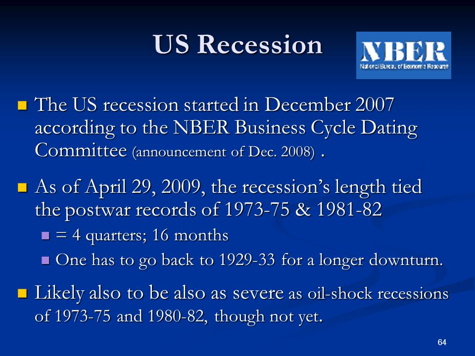 Nber recession dates in Sydney