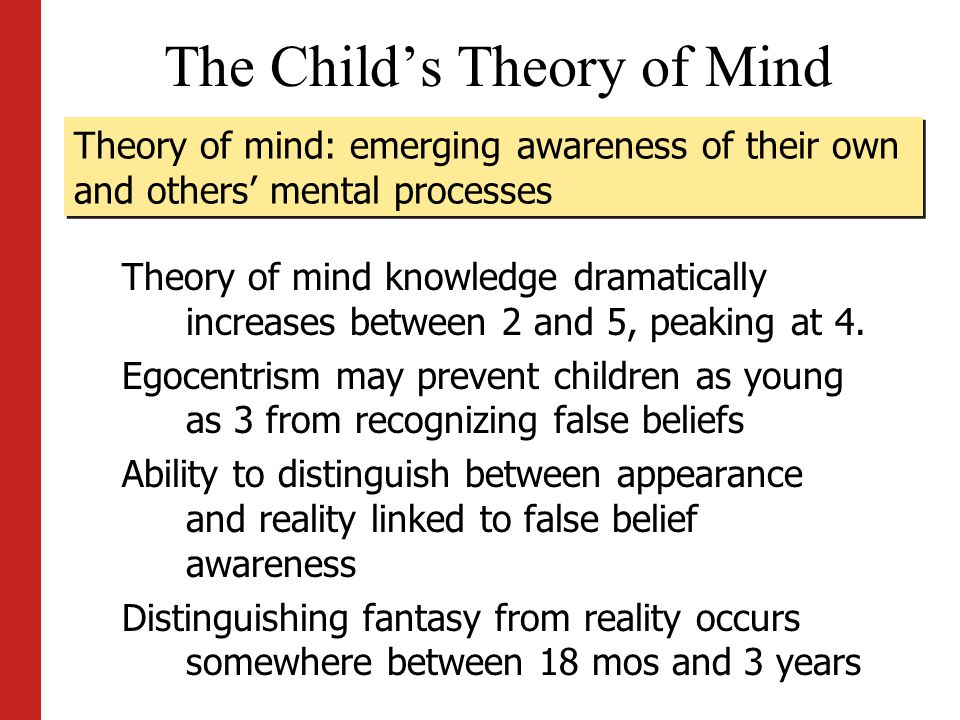 the development of theory of mind in children The theory of mind is the ability to understand that other people's beliefs, desires and knowledge can differ from your own find out if your child has developed theory of mind yet.