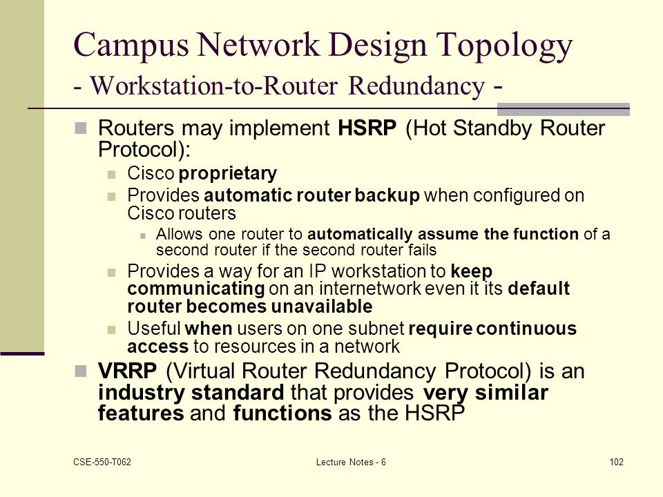 Campus Network Design Topology - Workstation-to-Router Redundancy -