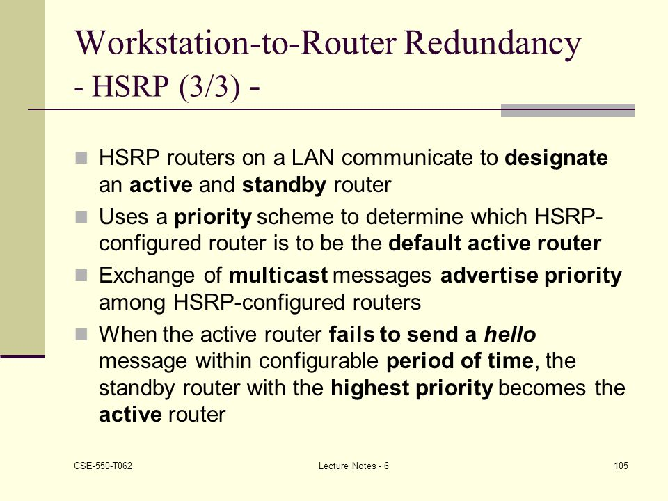 Workstation-to-Router Redundancy - HSRP (3/3) -