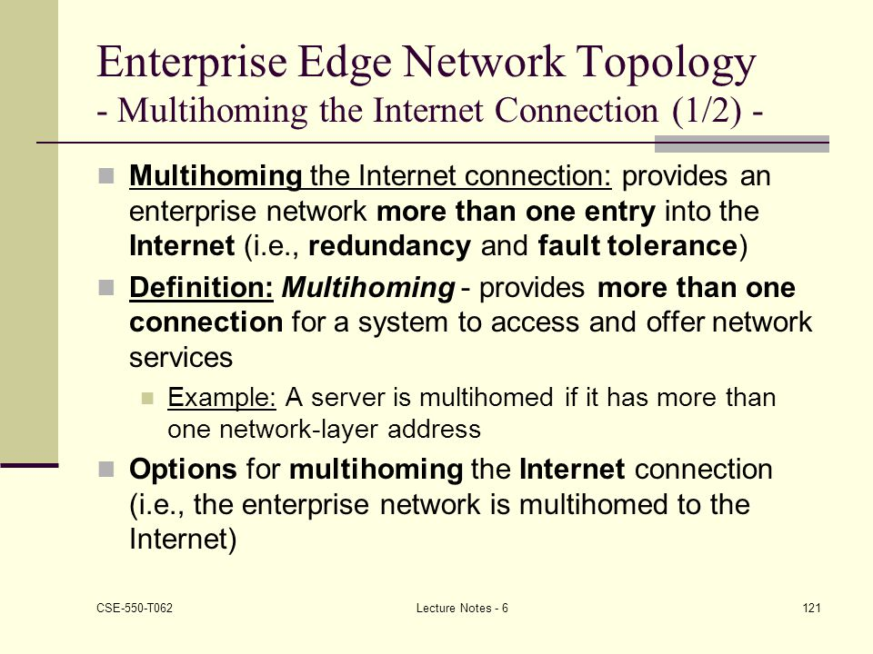 Enterprise Edge Network Topology - Multihoming the Internet Connection (1/2) -