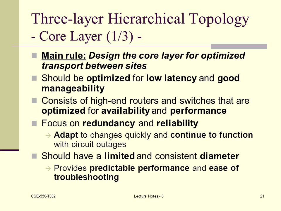 Three-layer Hierarchical Topology - Core Layer (1/3) -