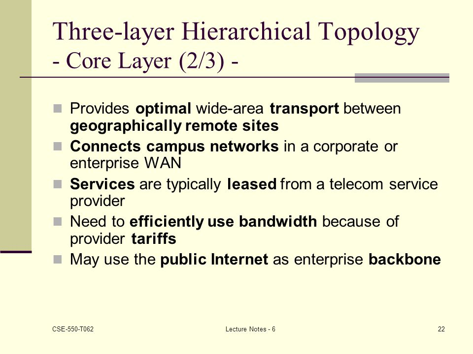 Three-layer Hierarchical Topology - Core Layer (2/3) -