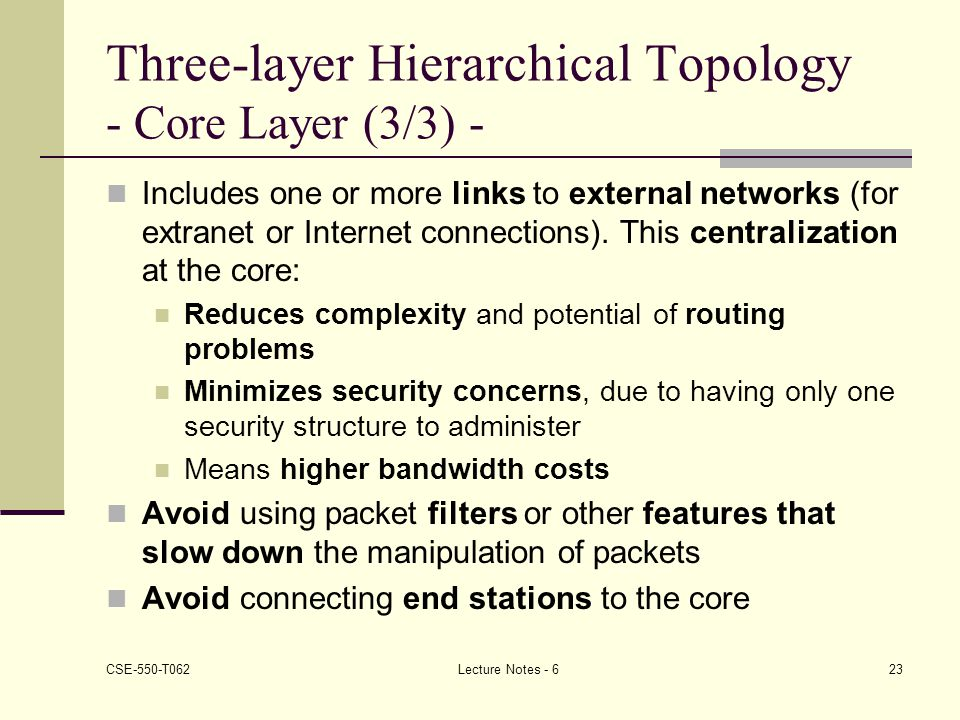 Three-layer Hierarchical Topology - Core Layer (3/3) -