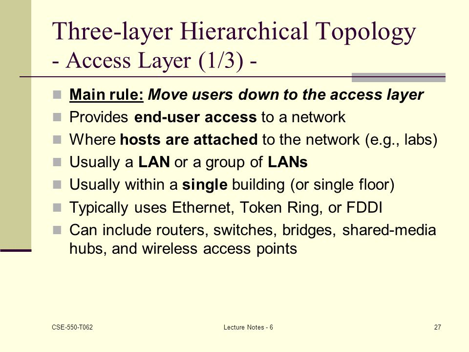 Three-layer Hierarchical Topology - Access Layer (1/3) -