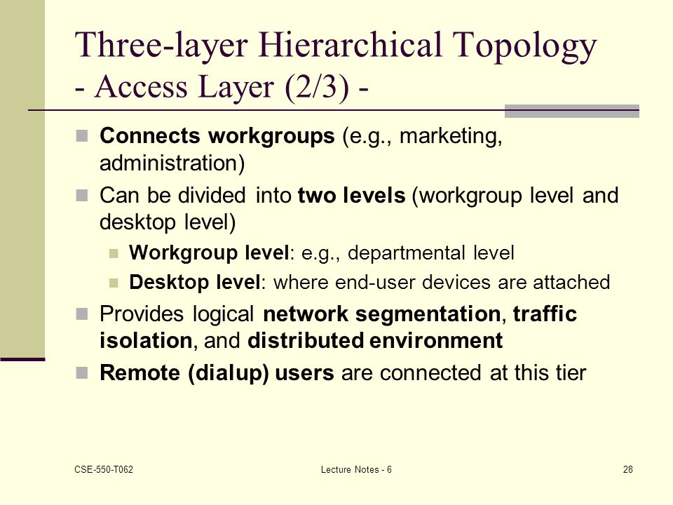 Three-layer Hierarchical Topology - Access Layer (2/3) -