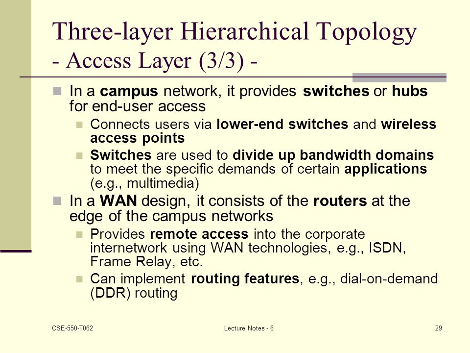 Three-layer Hierarchical Topology - Access Layer (3/3) -