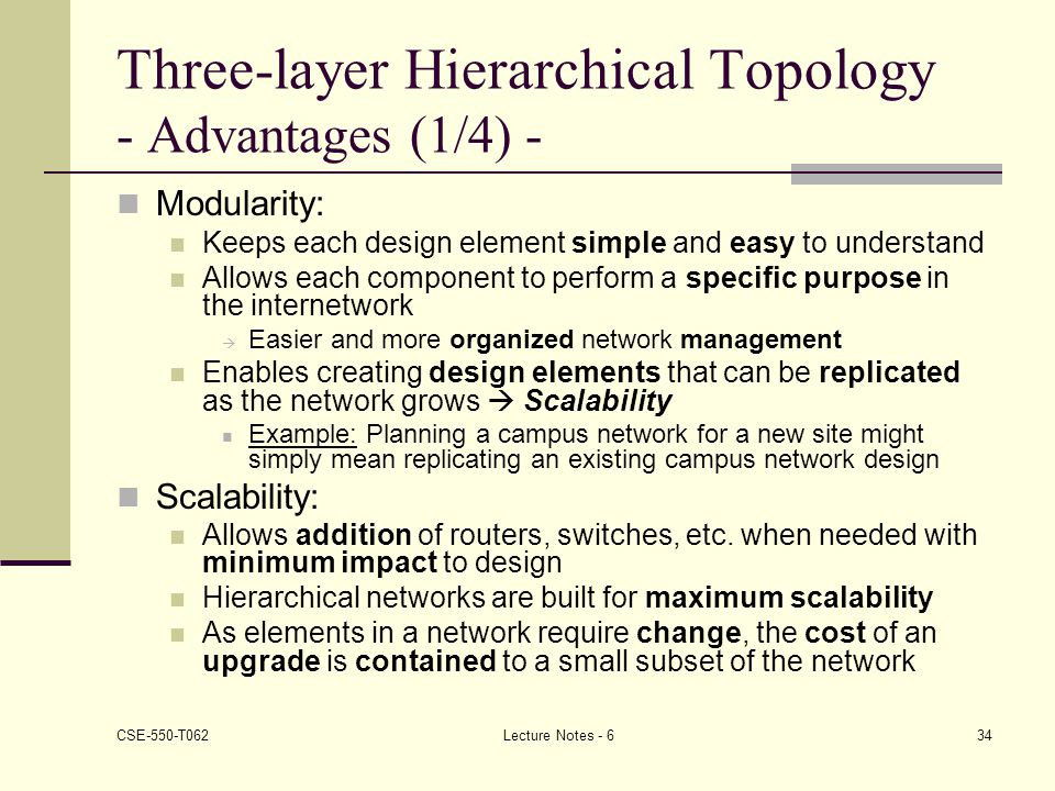 Three-layer Hierarchical Topology - Advantages (1/4) -