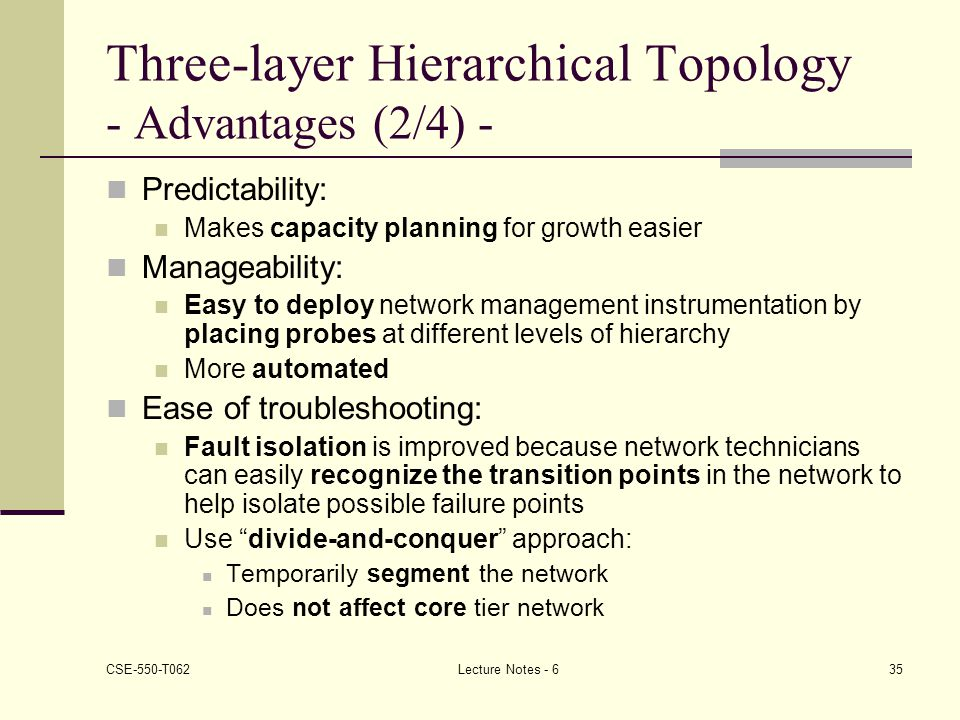Three-layer Hierarchical Topology - Advantages (2/4) -