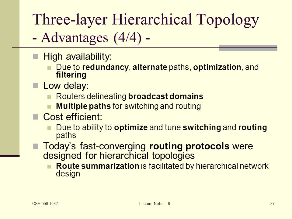 Three-layer Hierarchical Topology - Advantages (4/4) -