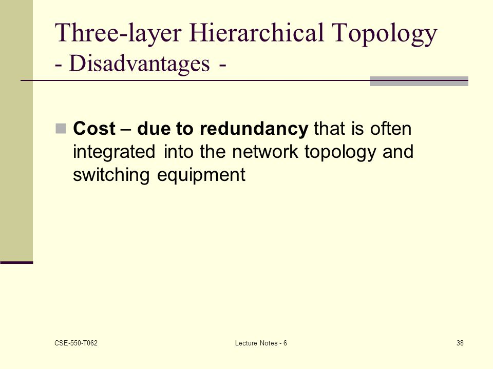 Three-layer Hierarchical Topology - Disadvantages -