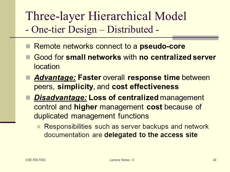 Three-layer Hierarchical Model - One-tier Design – Distributed -