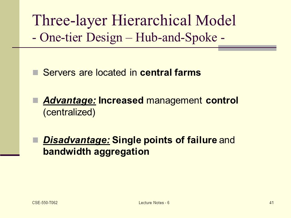 Three-layer Hierarchical Model - One-tier Design – Hub-and-Spoke -