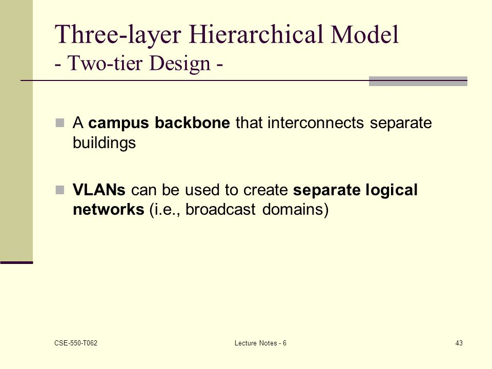 Three-layer Hierarchical Model - Two-tier Design -