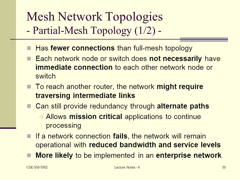 Mesh Network Topologies - Partial-Mesh Topology (1/2) -