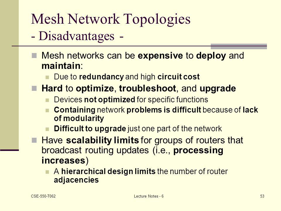 Mesh Network Topologies - Disadvantages -