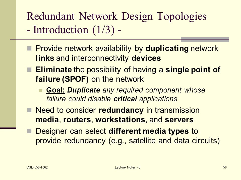 Redundant Network Design Topologies - Introduction (1/3) -