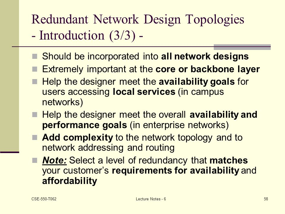 Redundant Network Design Topologies - Introduction (3/3) -