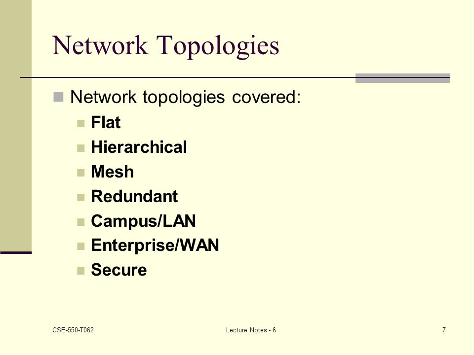 Network Topologies Network topologies covered: Flat Hierarchical Mesh