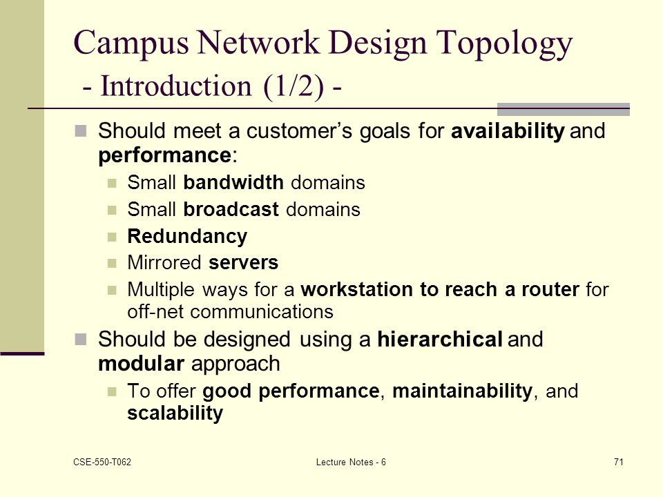 Campus Network Design Topology - Introduction (1/2) -