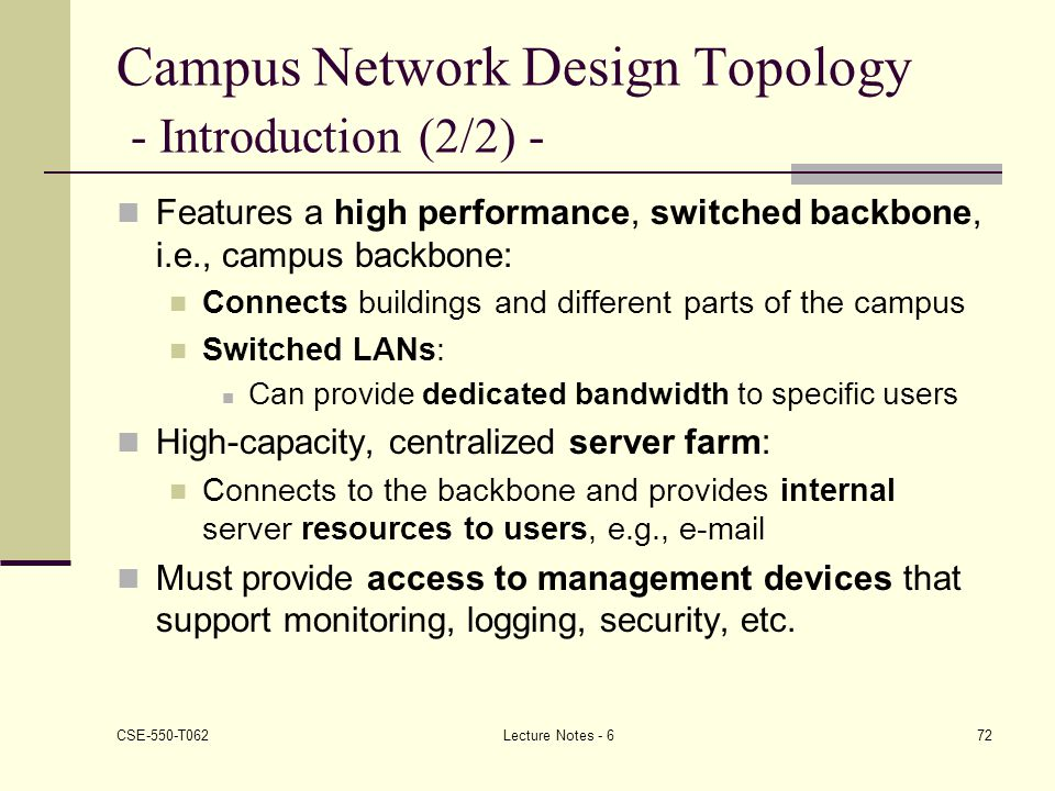 Campus Network Design Topology - Introduction (2/2) -