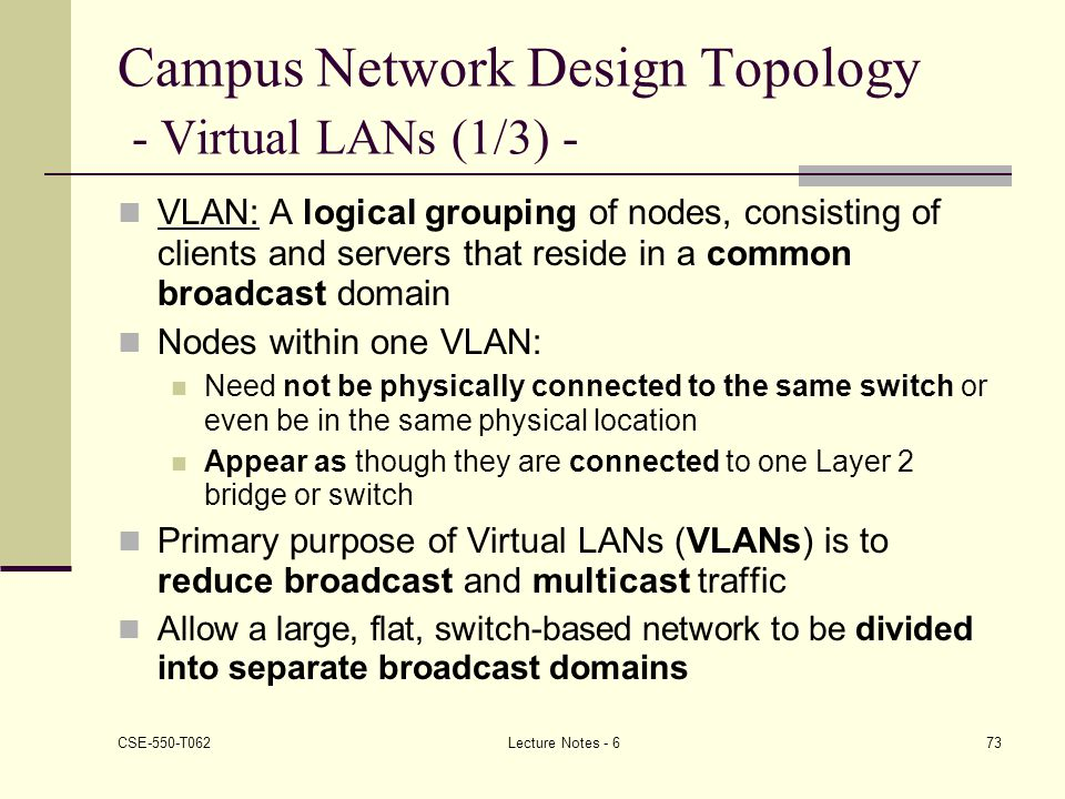 Campus Network Design Topology - Virtual LANs (1/3) -