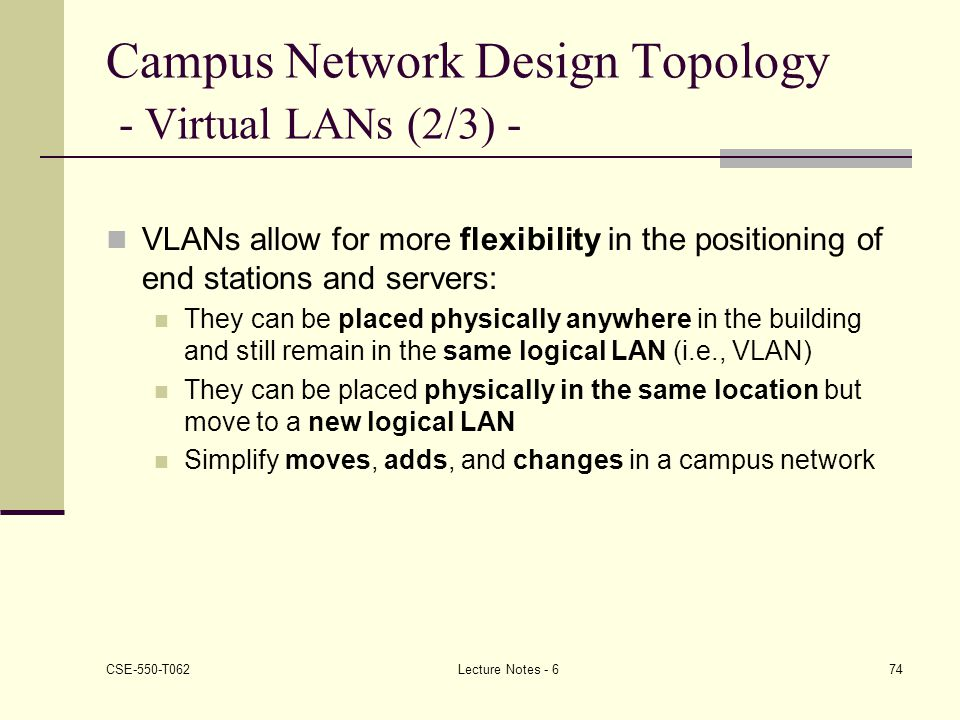 Campus Network Design Topology - Virtual LANs (2/3) -