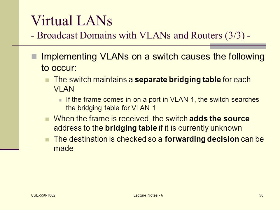 Virtual LANs - Broadcast Domains with VLANs and Routers (3/3) -