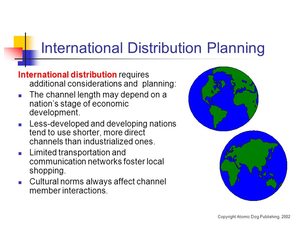 international distribution channels A marketing channel is the people, organizations, and activities necessary to  transfer the ownership of goods from the point of production to the point of  consumption it is the way products and services get to the end-user, the  consumer and is also known as a distribution channel.