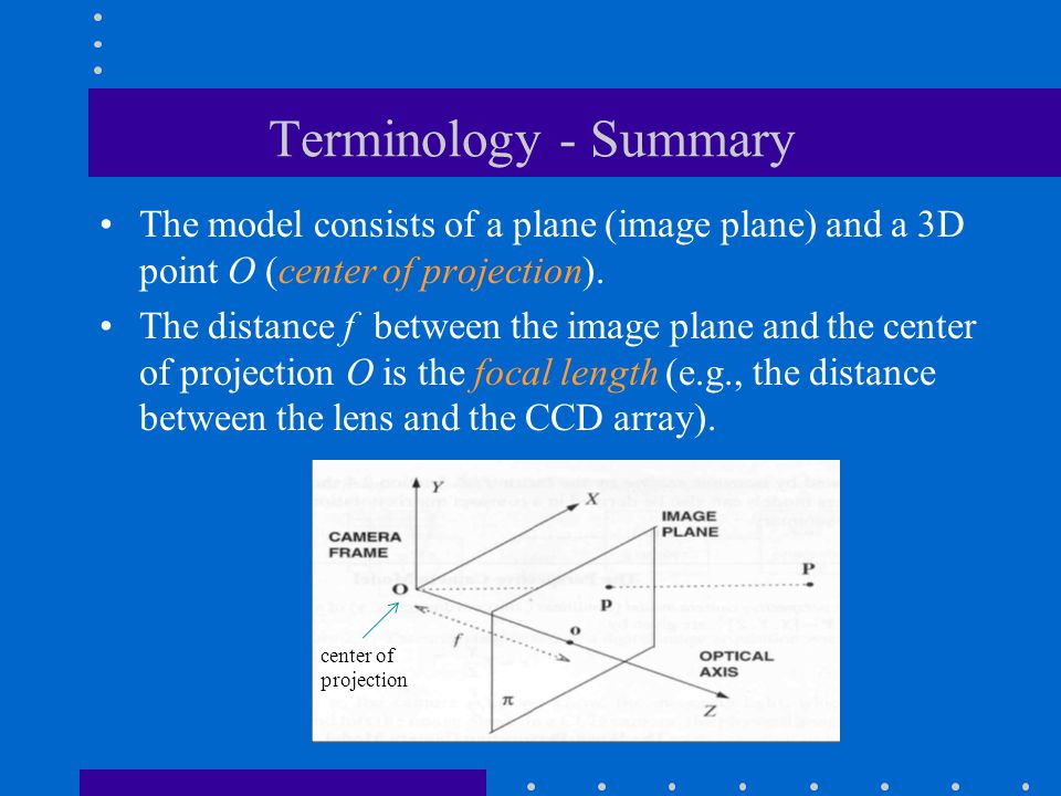 Terminology - Summary The model consists of a plane (image plane) and a 3D point O (center of projection).