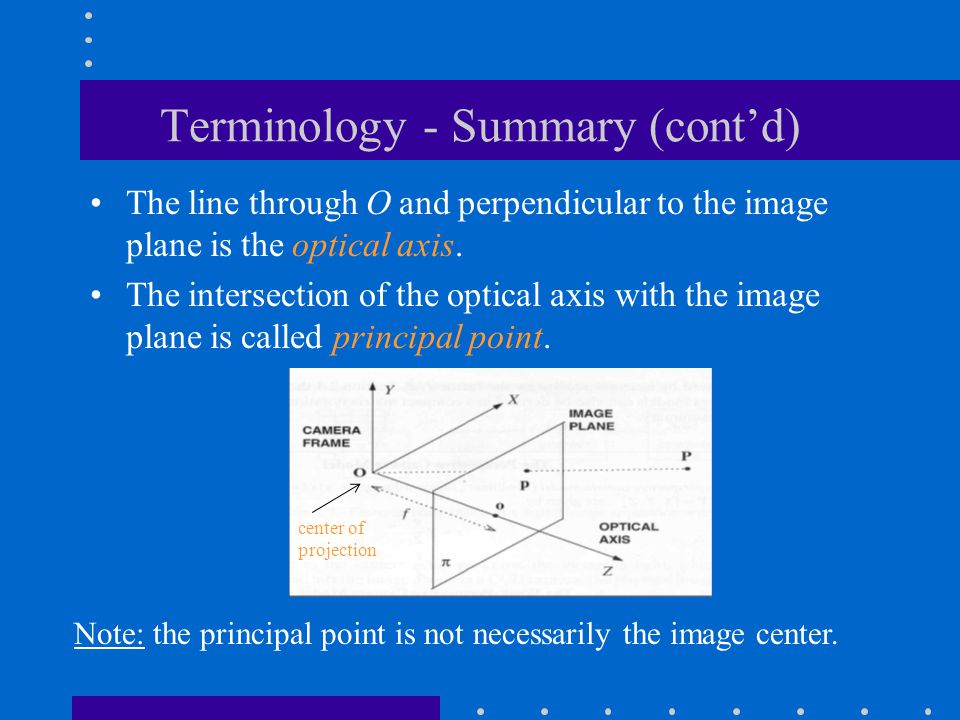 Terminology - Summary (cont'd)