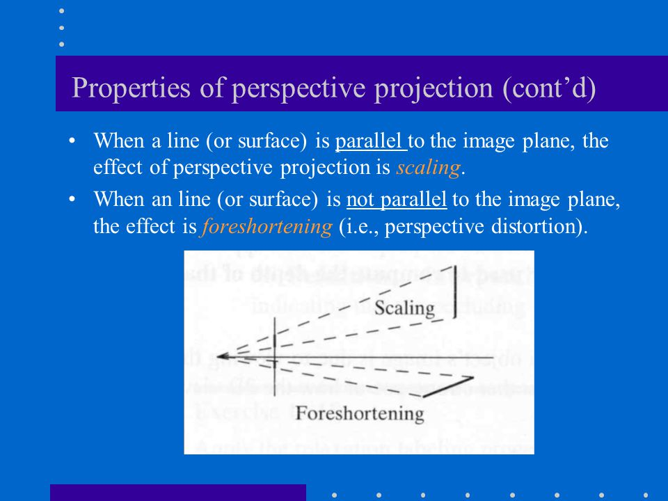 Properties of perspective projection (cont'd)