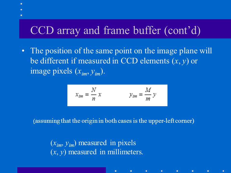 CCD array and frame buffer (cont'd)